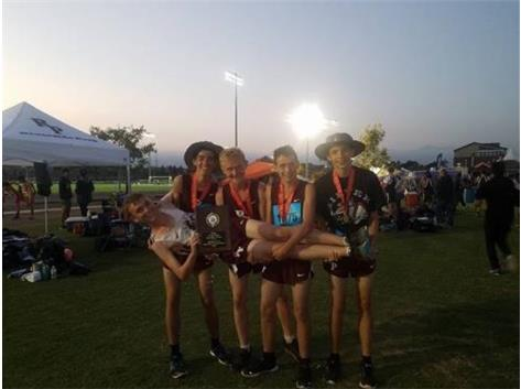 The freshman boys team were enjoying the after-race festivities!