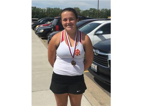Emily Laughlin medaled at 5th place for number 2 singles at the Moline Invite.