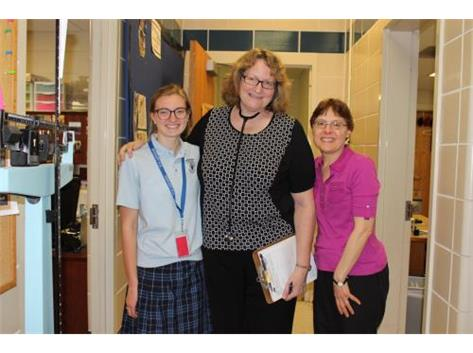 Thank you to Rosary alumna Lorene (Fabrizius '74) Eckberg, MD, who offered sports physicals today at Rosary as she has done each spring for about 15 years. Pictured here are student Julie Bottarini, Dr. Eckberg, and Mary Nowroozi, CMA.