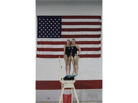 Paige and Sophie from the Naperville Central Dive Meet