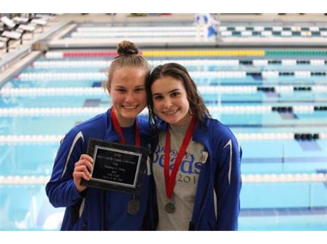 Paige took 2nd place in Varsity diving. Sophie took 2nd place in Fr/soph diving.  Paige was awarded Diver of the Year. Way to go ladies!
