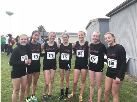 Rosary with the 2nd place win at Sectionals! 10/27/18  33- Katie L, 9th- Maia, 32-Ally, 1st- Lianna, 55th-Julie, 31-Brooke, 29th-Katie U