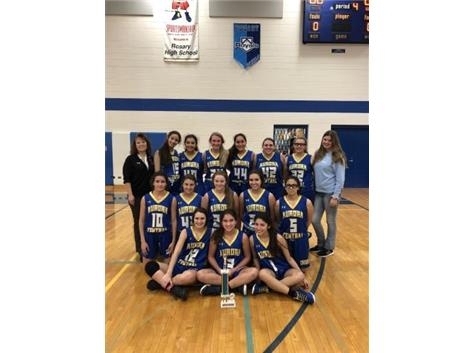 Congratulations to the Freshmen Basketball Team from Aurora Central Catholic High School who took first place in Rosary's Freshmen Holiday Hoops Tournament December 10-12! Rosary was second, followed by Oswego East and Plano. Great job by all teams; we enjoyed hosting!