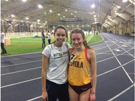 Rosary grads Madison Ronzone ('16) and Claire Hengesbaugh ('18) at today's Norte Dame Invitational. Both ran PRs in the 3k: Claire (Loyola) at 9:54 and Madison (Norte Dame) at 10:12. Great job, former Royals! Rosary Track and Field/ Cross Country