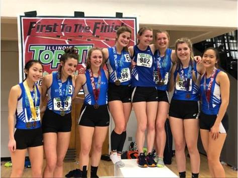 Rosary had a great day at the Illinois Prep Top Times meet at Illinois Wesleyan University on