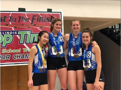 Melanie Meyer, Julie Bottarini, Maia Italia and Annie Molenhouse took 1st in the 4x400 at the 2019 indoor track state meet!