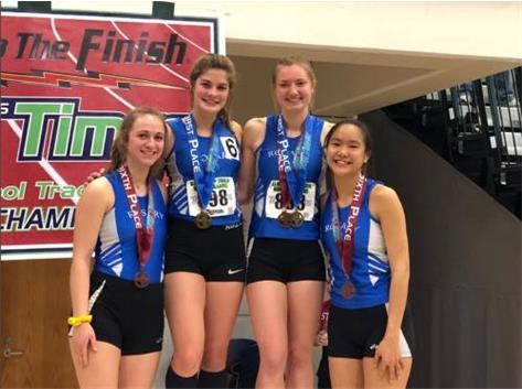 Emma Schwartz, Melanie Meyer, Julie Bottarini, and Kyla Dalton-Coley took 6th in the 4x200 at the 2019 indoor state track meet!