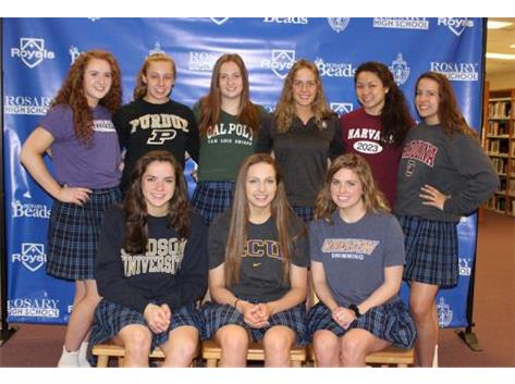 The 2019 Rosary athletes who signed their NLIs to compete at the college level. Way to go ladies!