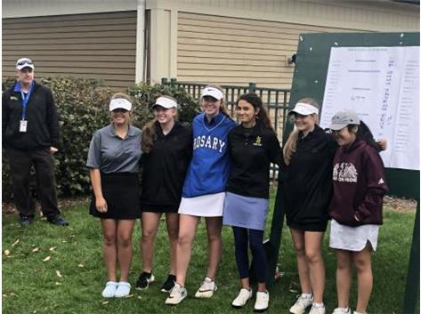 Congrats to the whole team and Morgan shooting a solid 86 posting the lowest Rosary score for the team helping to advance to IHSA sectionals on Monday. Morgan Witte placed 4th and is pictured here in the top 6