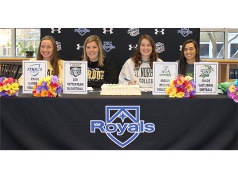 The 2020 Rosary athletes who signed their NLIs to compete at the college level. Way to go ladies!