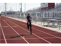 Elizabeth, one of our top 3 girls 40 meter dash runners on March 2nd