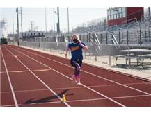 """Jenny, one of our top 3 girls 40 meter dash runners on March 2nd. She also had the top female broad jump with a jump of 6'7.5"""""""