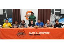 8 Astros sign national letters of intent to continue academic and football careers in college, Back: Matthew Hightower (Tulane) Left - Right: Darnell Maebane, Thomas Smith & Alex Harris (Mesabi Range CC) Grant Larkins (Carthage College) Elijah Vinson (Iowa Western CC) D'Angelo Silvar  & Andrew Wright (Robert Morris University)