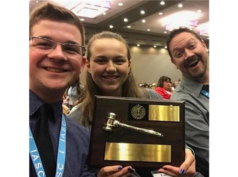 "Kickapoo once again is awarded the ""#1 District"" plaque at the IASC state convention.  Way to go KDASC!"