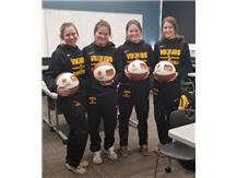Seniors Morgan, Grace, Kyra & Meagan with their Photo Basketballs
