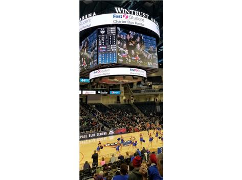 Wintrust Arena for DePaul vs UCONN Vikings on Jumbotron