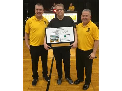 Coaches Alex Shimko & George Shimko present Announcer Pat Griffin with QOP plaque