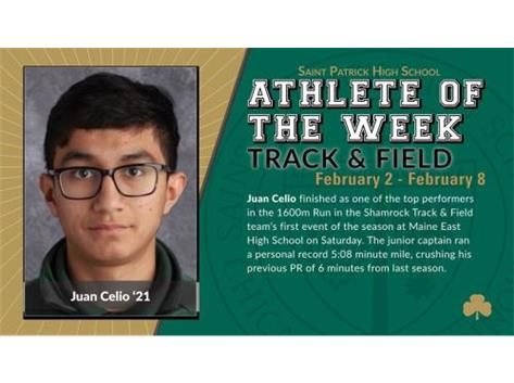 Congratulations to Juan Celio '21 on being named Athlete of the Week! Shamrock Track & Field had their first meet of the season on Saturday and are off to a great start, including Juan's personal best 5:08 mile! More to come in this week's Shamrock Roundup, including how you can support the team on Saturday with their Chipotle fundraiser. GO SHAMROCKS!