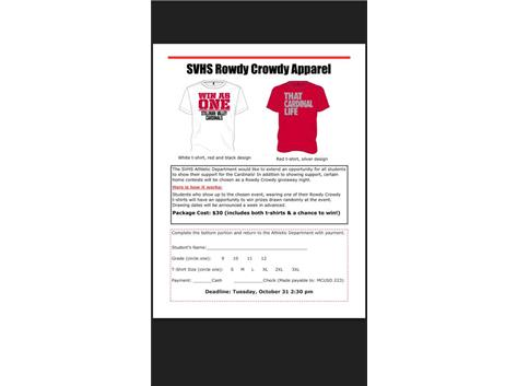 Get your Rowdy Crowdy Gear! $30 for 2 Nike t-shirts and a chance to win prizes at select home games.