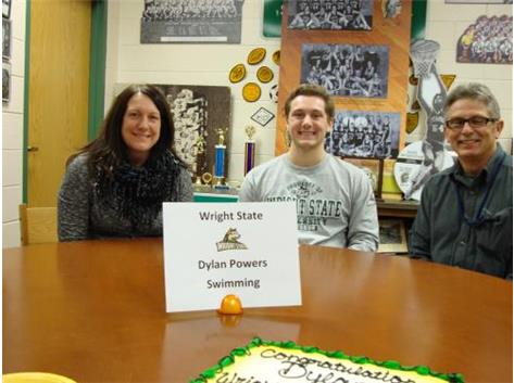 Dylan Powers signing with Wright State for Men's Swimming.