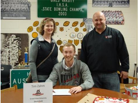 Tim Zahm's signing to play basketball at Grand View University in Iowa.