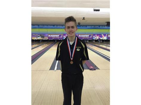 Trevor Smith finished in 10th place at the State Bowling tournament.  He ended day one in 23rd place, but went to work on Saturday to finish in 10th.  The team finished in 15th on Friday, but did not advance to the 2nd day.