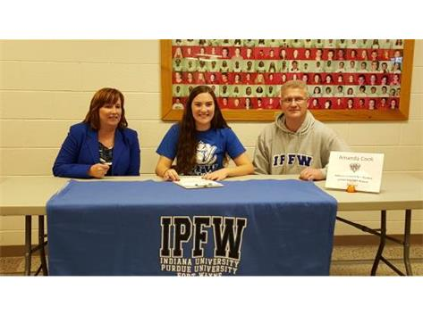 Amanda Cook signs with Indiana University-Purdue University Fort Wayne to play soccer.