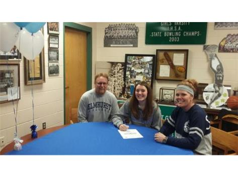 Baylee Ricker signs with Elmhurst College to bowl.