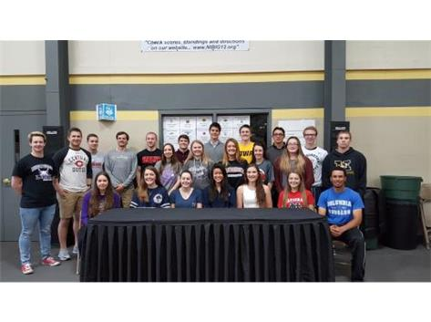 Another successful year for senior athletes continuing their athletic careers in college. Good Luck!
