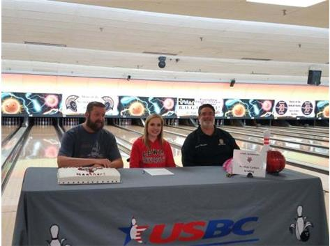 Heather Carlson Signes with Lewis University to bowl.