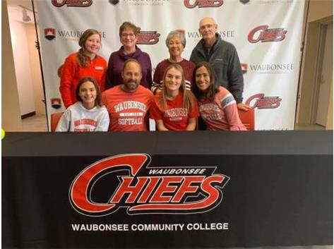 Mary Rivera signs with Waubonsee Community College to play softball.