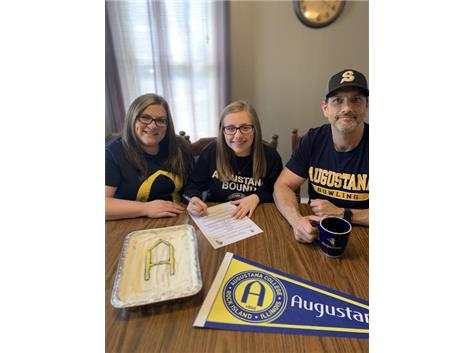Alexis Munch signs with Augustana to bowl.
