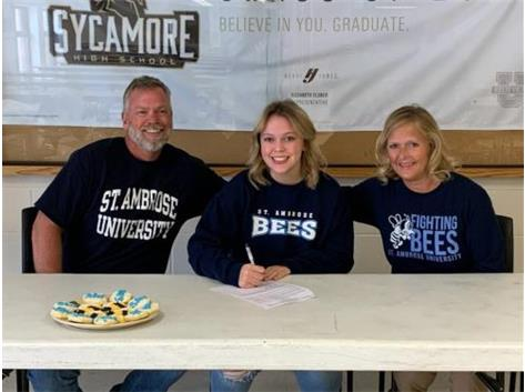 Megan McConnaughay signs with St. Ambrose to play tennis.