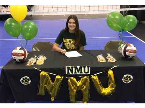 Anna Carpenter signing with Northern Michigan University to play volleyball.