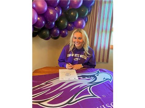 Lilly Horne signing with University of Wisconsin-Whitewater to play soccer.