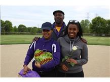 Senior, #16, Tiana Bogard, With Sister & Dean's Assistant, Mr. Sims, Senior Night 5/20/16