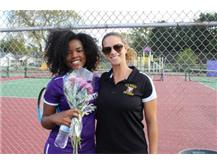 Senior, K. Gray, With Coach Murawski