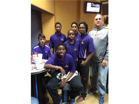 Members of the Frosh. Boys Bowling Team with Coach Tarka