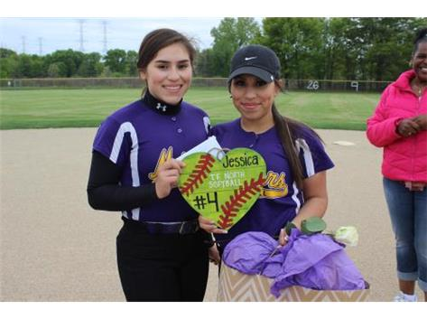 Senior, #4, Jessica Anaya, With Sister (Left), Jocelyn Anaya, Senior Night 5/20/16