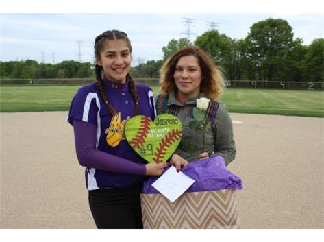 Senior, #9, Jasmine Aguado, With Sister, Senior Night 5/20/16