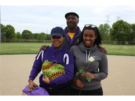 Senior, #16, Tiana Bogard, With Sister & Dean's Assistant, Mr. Sims, Senior Night 5/20/16
