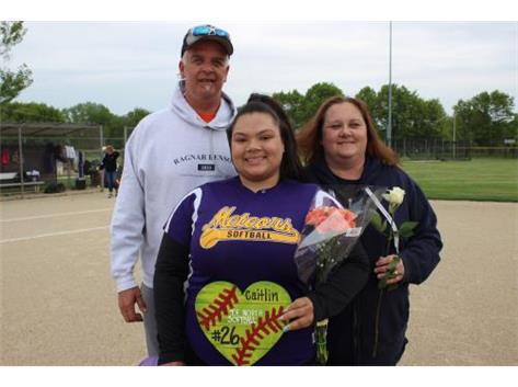 Senior, #26, Caitlin Marshall, With Parents, Senior Night 5/20/16