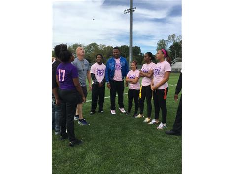 2016 Powderpuff Game Captains & Coaches Together for Coin Flip