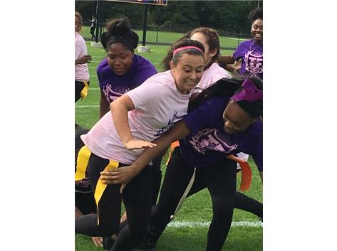 J. Quezada Trying To Push Through The Senior Girls To Score