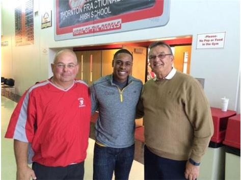 New York Mets RF Curtis Granderson (class of 1999) with retired Hall-of-Fame head coach Bill Anderson and varsity assistant coach Ken Reynolds.