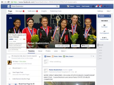 Follow the 2019 Team on FACEBOOK. REBEL BADMINTON and TWITTER using tfs badminton