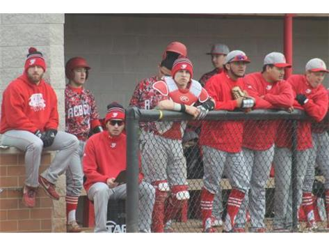 The Rebel dugout encourages a teammate at the plate.