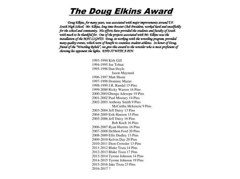 "Doug Elkins Award ""The most Pins"""