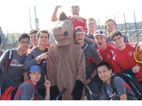 Varsity Boys meet Morton Bronco Mascot