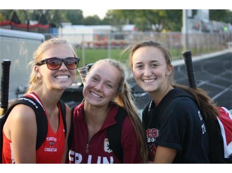 Olivia, Allison and Kaleigh all smiles on Senior Day.